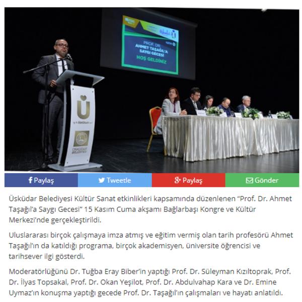 PROF. DR. AHMET TAŞAĞIL'A SAYGI GECESİ